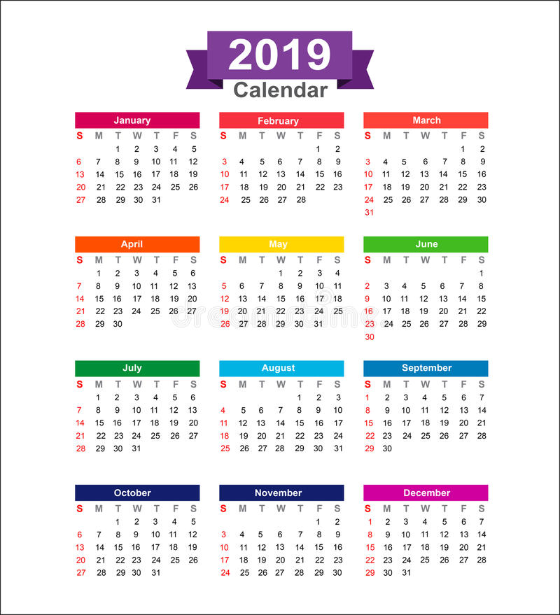 Calendario de 2019 años aislado en el illustra blanco del vector del fondo fotos de archivo libres de regalías