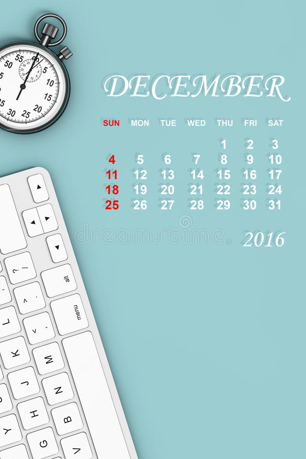 calendario de 2016 años Calendario de diciembre representación 3d stock de ilustración