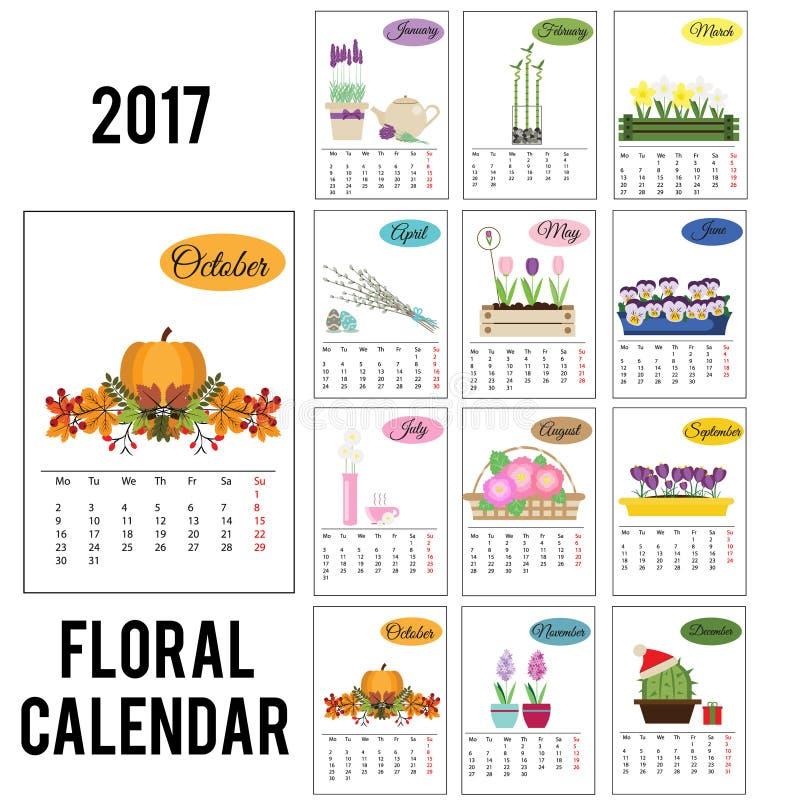 calendario de 2017 años con las flores de la estación ilustración del vector