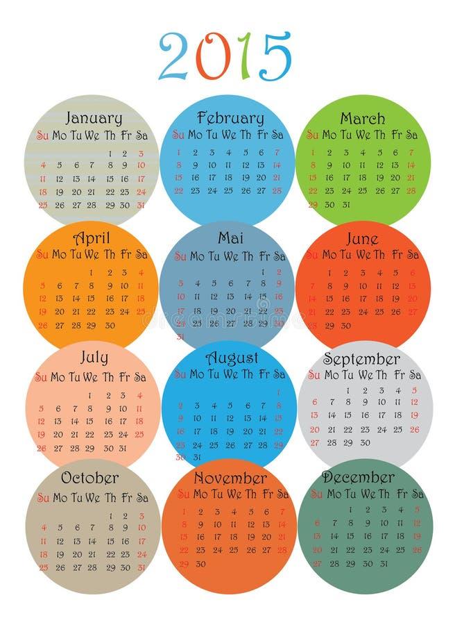 calendario de 2015 años en blanco stock de ilustración