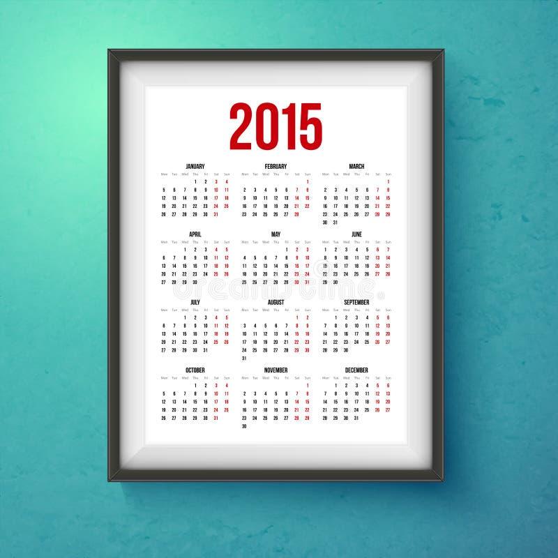 calendario de 2015 años Marco realista de la foto en la pared stock de ilustración
