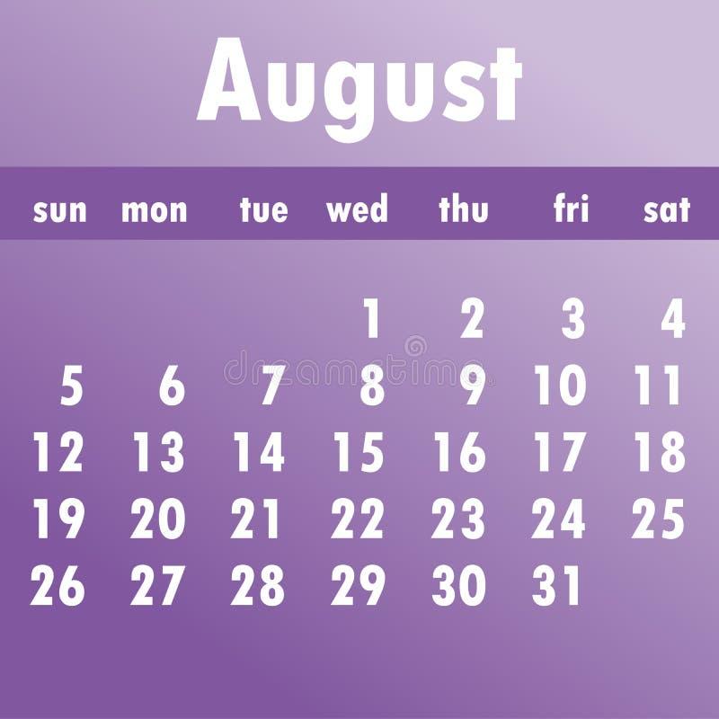 Calendario 2018 de agosto Comienzo de la semana el domingo Vector del negocio libre illustration