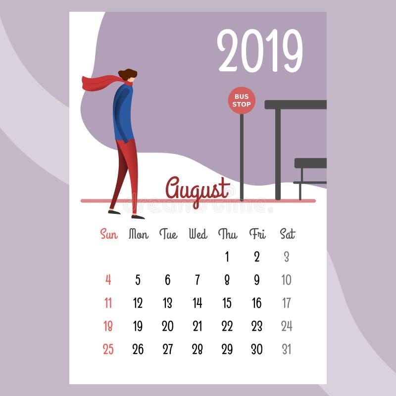 Calendario 2019 Calendario de agosto Vector del calendario ilustración del vector