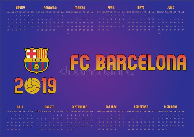 Calendario 2019 de Barcelona FC en español ilustración del vector