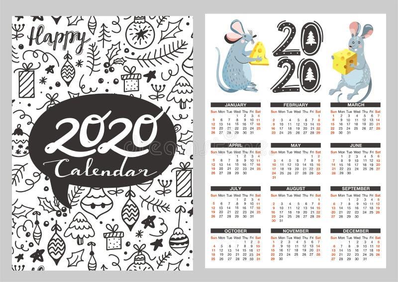 Calendario de bolsillo con ilustraciones de divertidos elementos de ratón, queso y doodle ilustración del vector