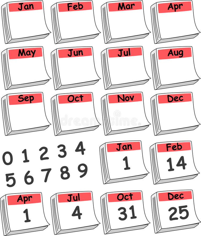 Calendario de encargo del día (rojo) ilustración del vector