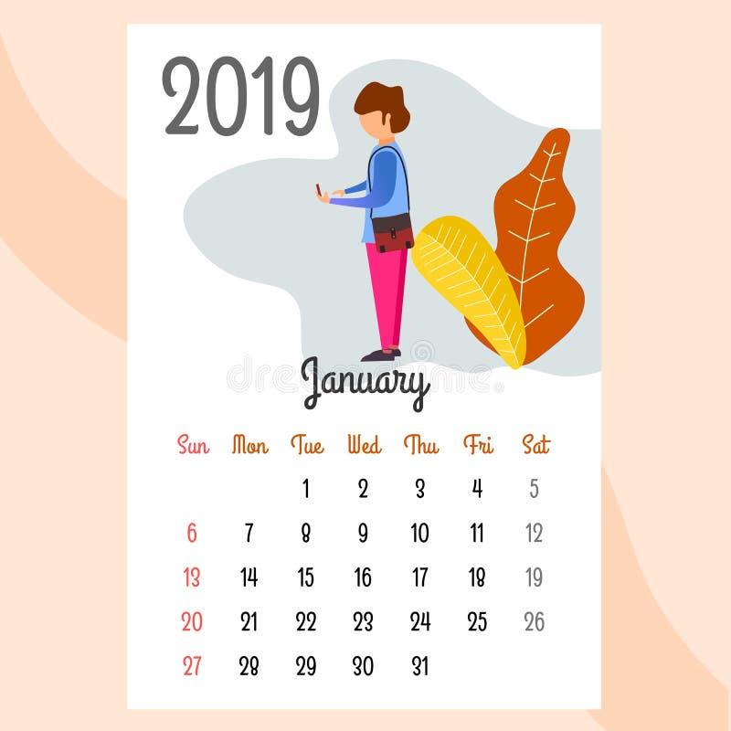 Calendario 2019 Calendario de enero Vector del calendario ilustración del vector