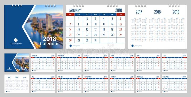 Calendario de escritorio 2018 ilustración del vector