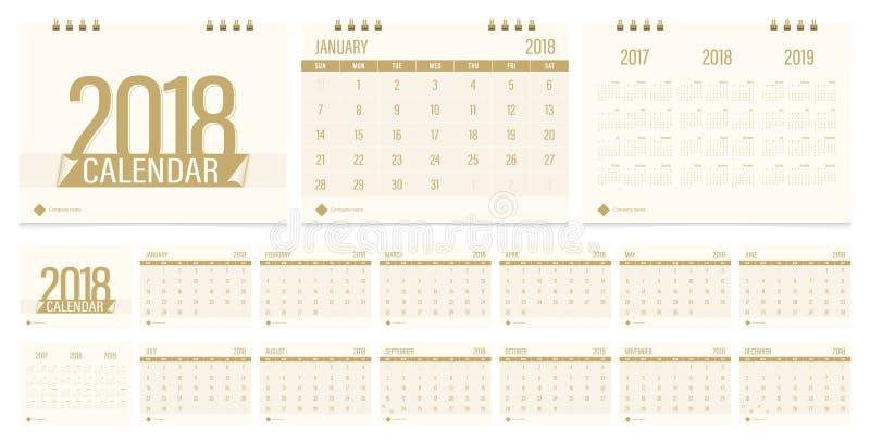 Calendario de escritorio 2018 libre illustration