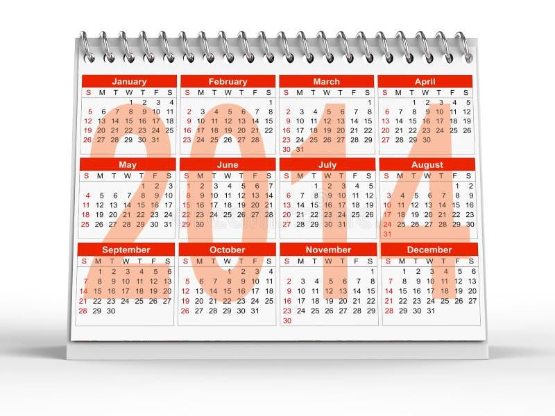 calendario 2014 de escritorio stock de ilustración