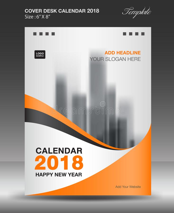 Calendario de escritorio anaranjado de la cubierta vector de la plantilla de la disposición de 2018 años, vertical de la pulgada  stock de ilustración