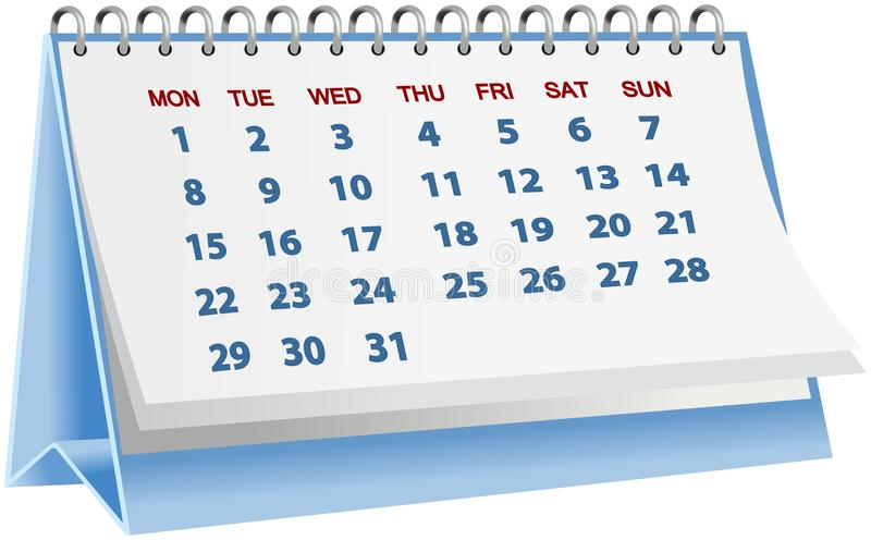 Calendario de escritorio azul aislado en blanco libre illustration
