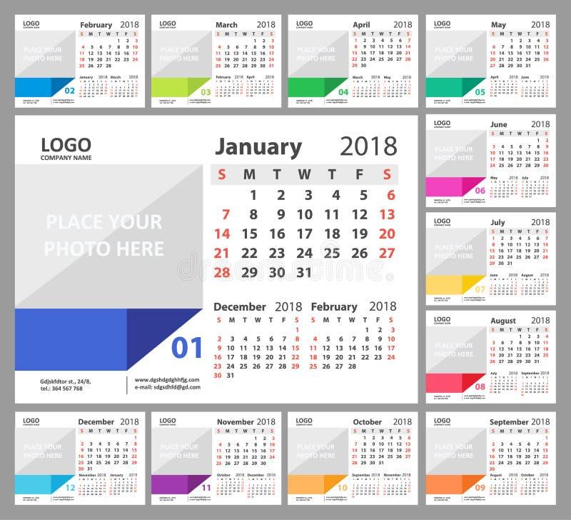 Calendario de escritorio 2018 La semana comienza domingo Sistema de 12 meses stock de ilustración