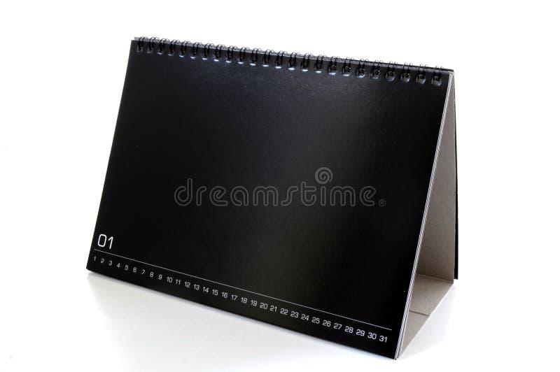 Calendario de escritorio negro en blanco imagen de archivo