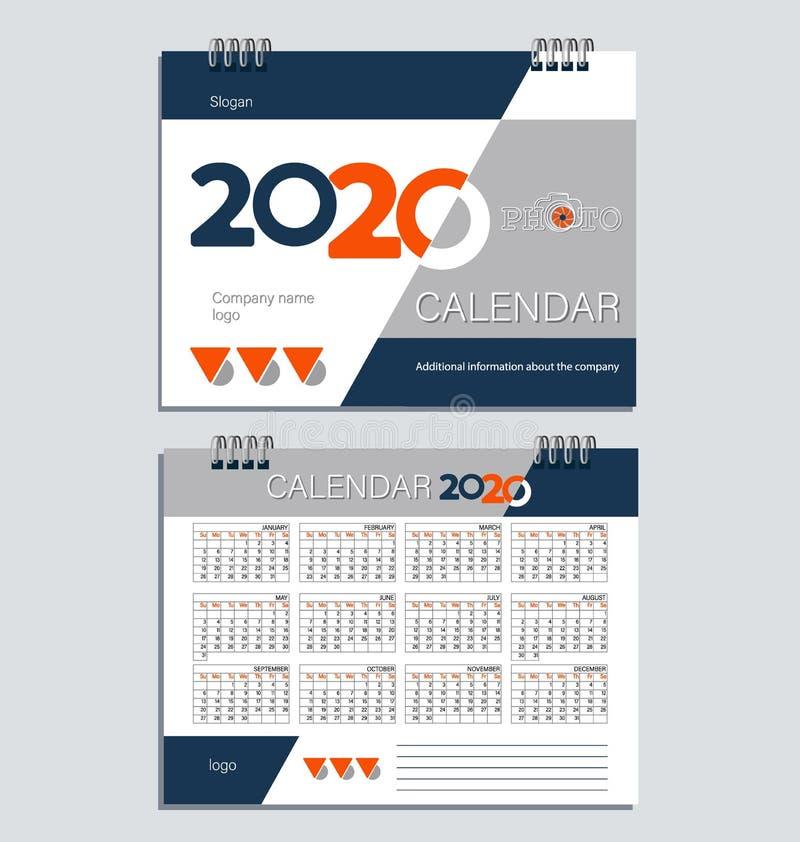 Calendario de escritorio para 2020 modelo stock de ilustración