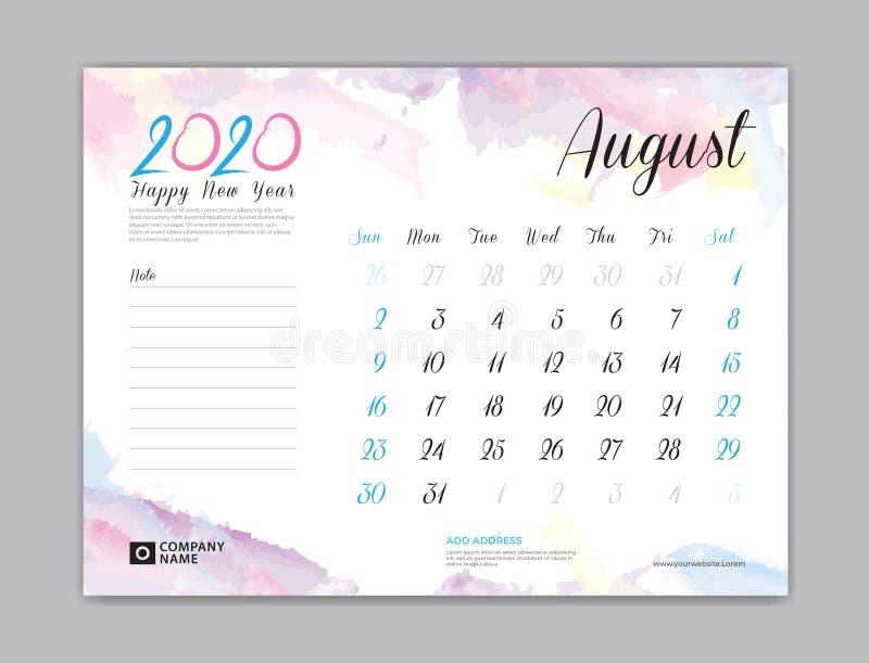 Calendario de escritorio por 2020 años, agosto de 2020 plantilla, comienzo de la semana el domingo, diseño del planificador, efec ilustración del vector