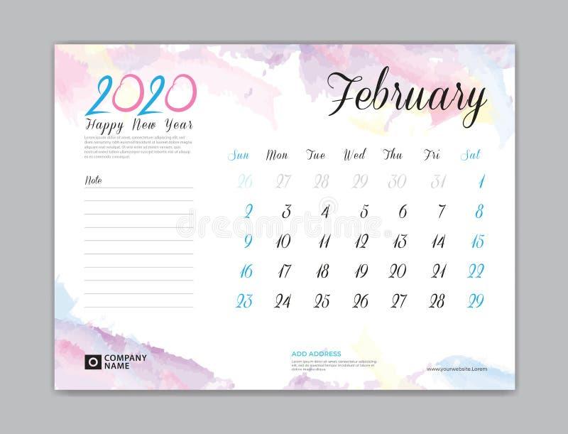 Calendario de escritorio por 2020 años, febrero de 2020 plantilla, comienzo de la semana el domingo, diseño del planificador, efe stock de ilustración