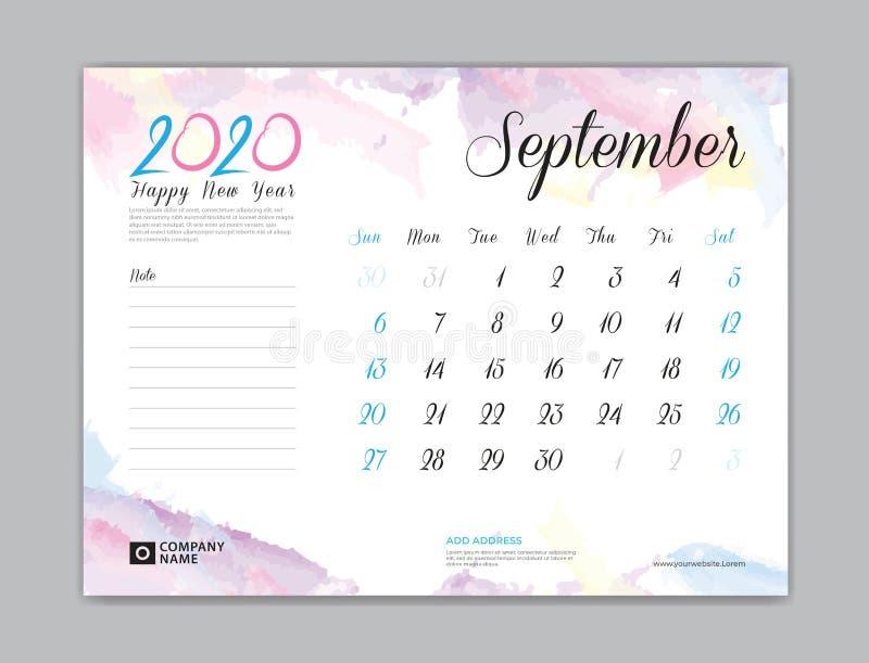 Calendario de escritorio por 2020 años, septiembre de 2020 plantilla, comienzo de la semana el domingo, diseño del planificador,  stock de ilustración