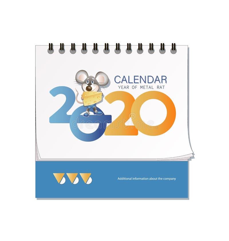 Calendario de escritorio 2020 Ratón con queso El símbolo de 2020 libre illustration