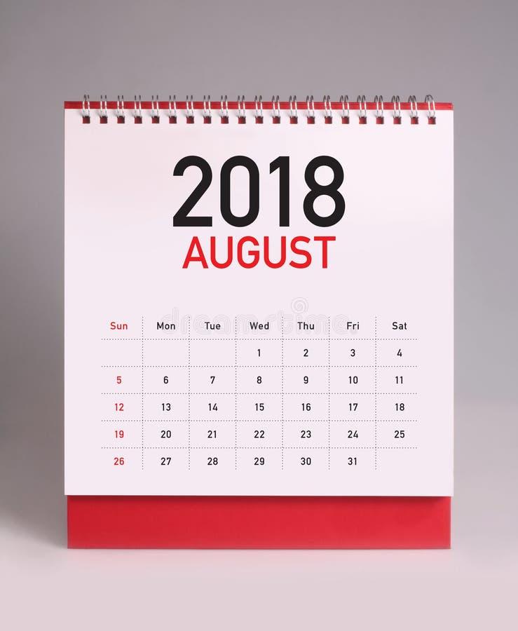 Calendario de escritorio simple 2018 - agosto ilustración del vector