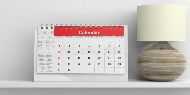 Calendario de escritorio y una lámpara de mesa en el fondo blanco ilustración 3D stock de ilustración