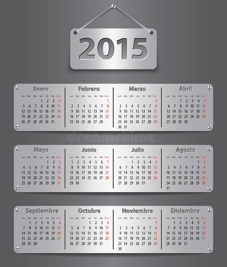 Calendario de 2015 españoles stock de ilustración