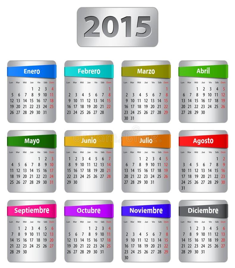 Calendario de 2015 españoles ilustración del vector