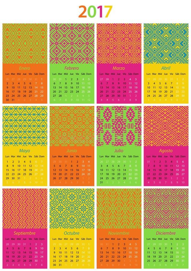 Calendario de 2017 españoles ilustración del vector