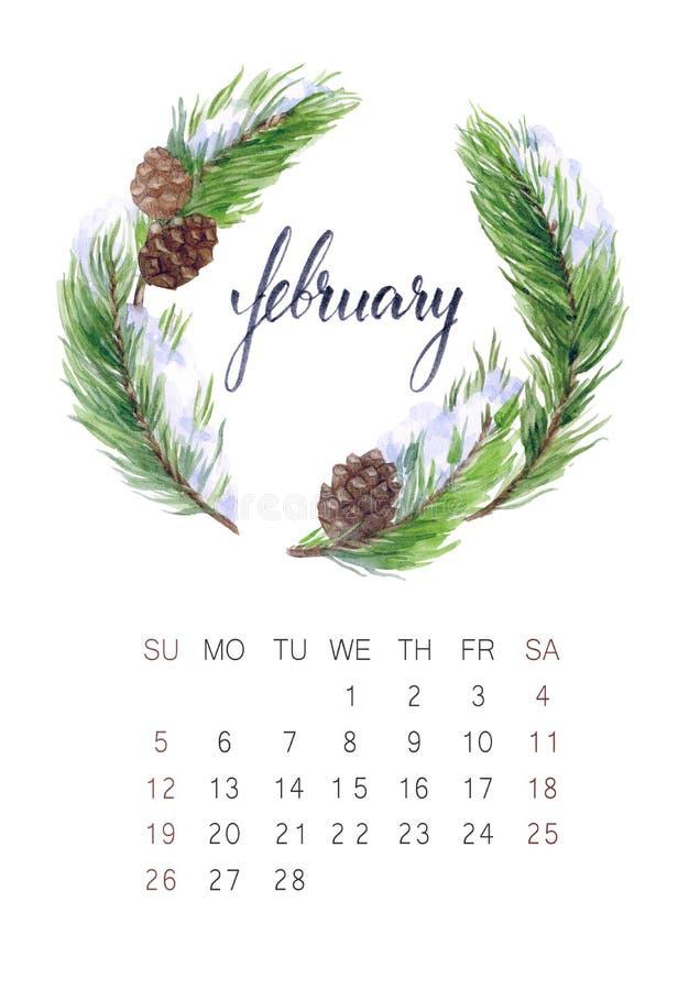 Calendario de febrero imagen de archivo libre de regalías