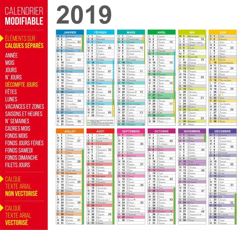 calendario de 2019 franceses fácil modificar para requisitos particulares stock de ilustración