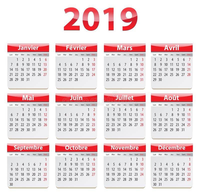 Calendario de 2019 franceses rojo y brillante ilustración del vector