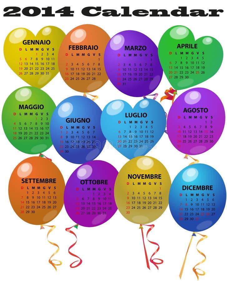 calendario de 2014 globos stock de ilustración