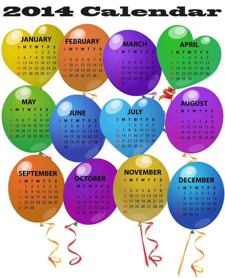 calendario de 2014 globos ilustración del vector