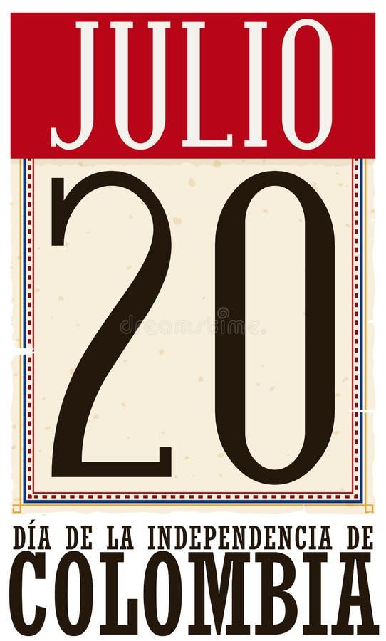 Calendario de hojas sueltas retro para el Día de la Independencia de Colombia en el 20 de julio, ejemplo del vector ilustración del vector