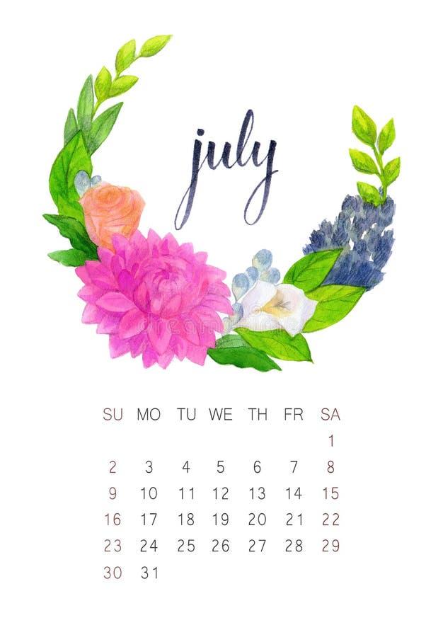 Calendario de julio imagenes de archivo