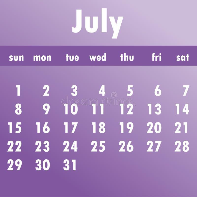 Calendario 2018 de julio Comienzo de la semana el domingo Vector del negocio ilustración del vector