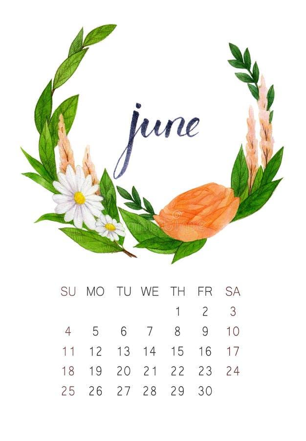 Calendario de junio fotos de archivo