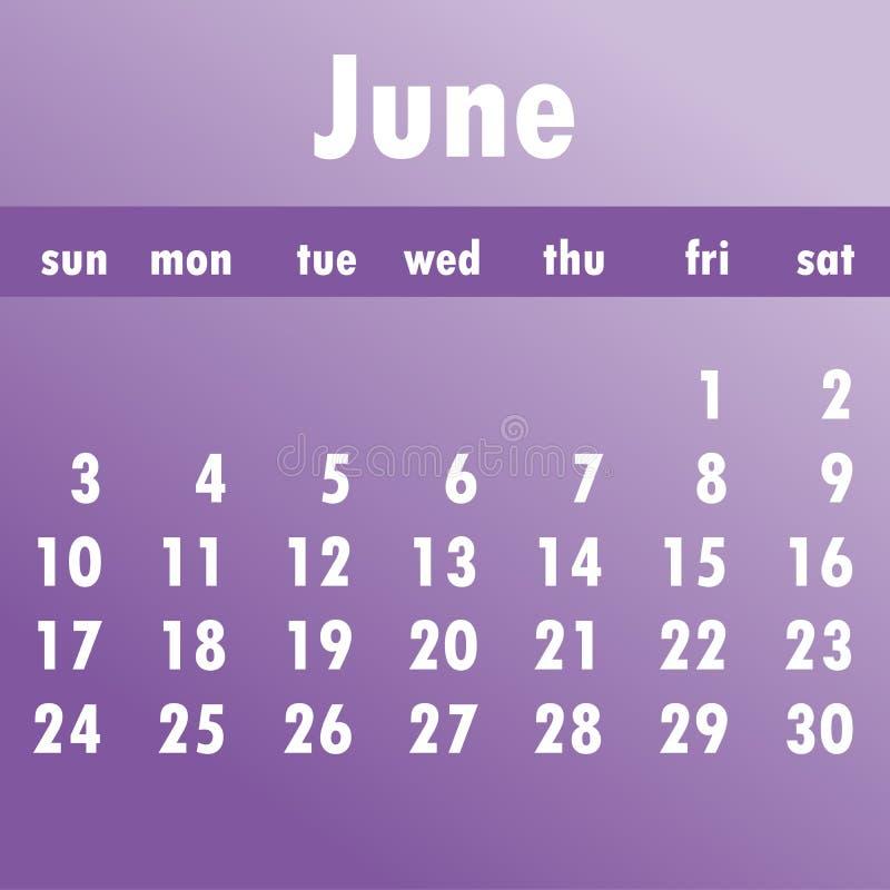 Calendario 2018 de junio Comienzo de la semana el domingo Vector del negocio stock de ilustración
