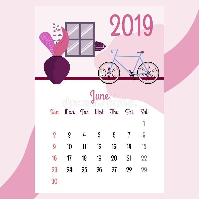 Calendario 2019 Calendario de junio Vector del calendario ilustración del vector