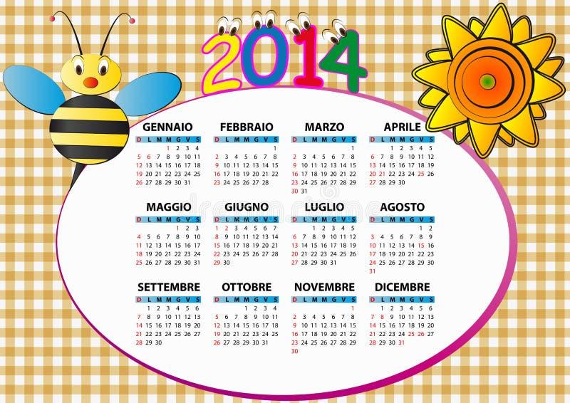 calendario 2014 de la abeja libre illustration