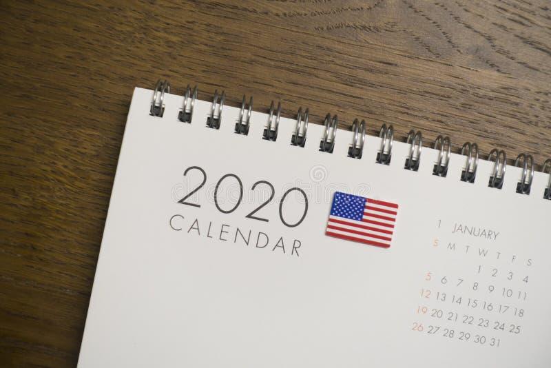 Calendario de la bandera americana en enero de 2020 fotografía de archivo