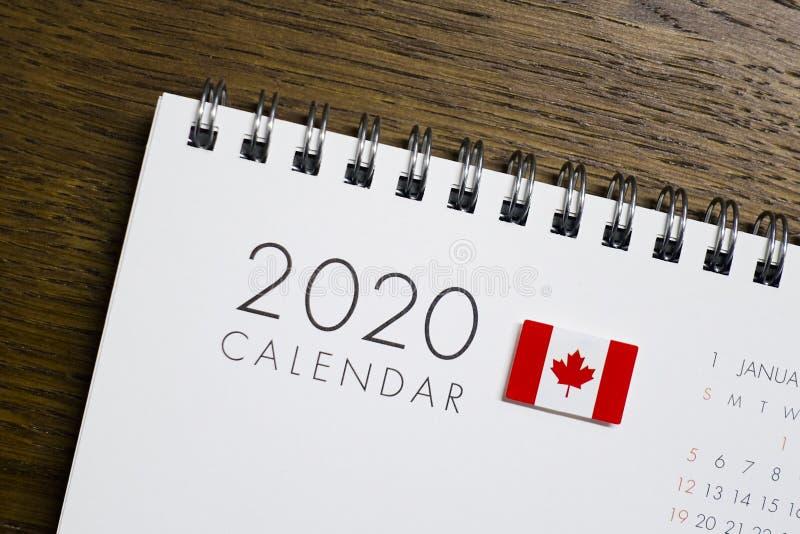 Calendario de la bandera de Canadá 2020 fotografía de archivo libre de regalías