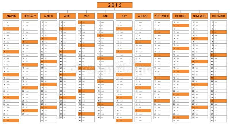 Calendario de la columna por el año 2016 imagenes de archivo