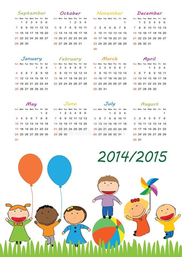 Calendario 2014/2015 de la escuela ilustración del vector