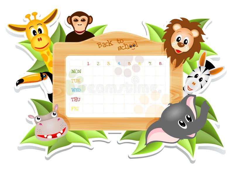 Calendario de la escuela con los animales ilustración del vector