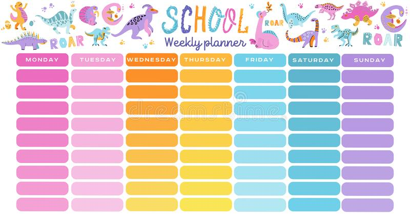 Calendario de la escuela de la plantilla El ejemplo incluye elementos exhaustos de la mano de las fuentes de escuela stock de ilustración