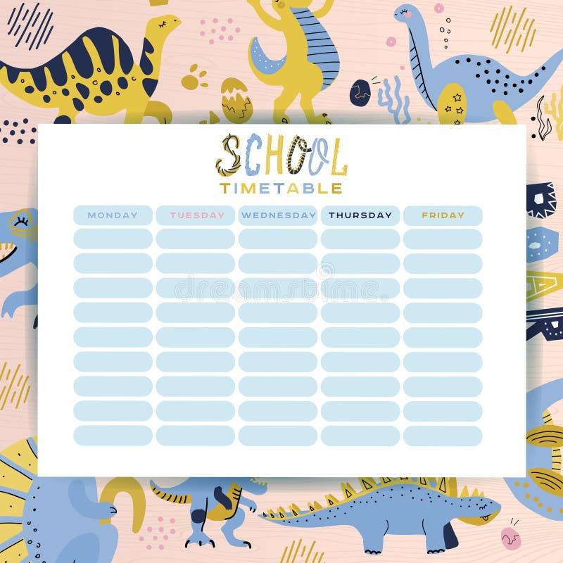 Calendario de la escuela de la plantilla Horario de lecciones en la escuela Dinosaurios divertidos de la historieta del período j libre illustration
