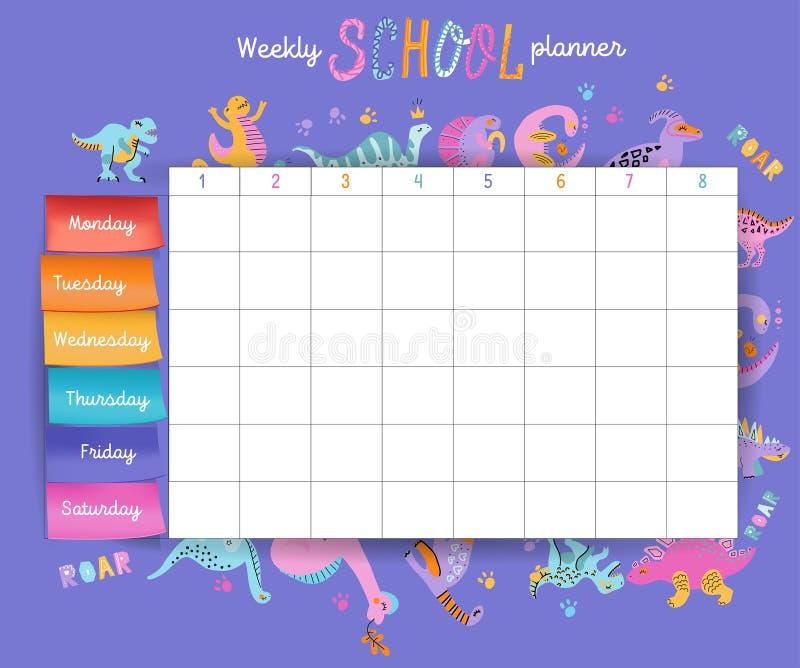 Calendario de la escuela de la plantilla para los estudiantes o los alumnos con d?as de semana y espacios libres para las notas E ilustración del vector