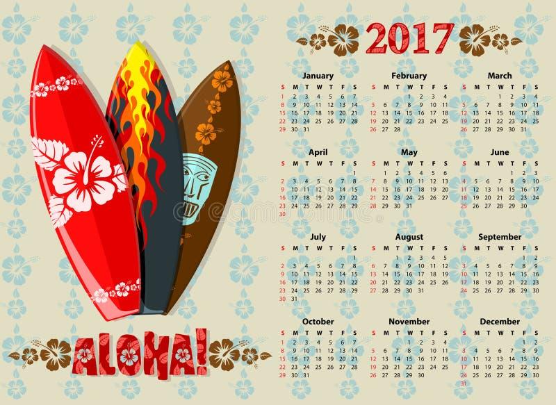 Calendario 2017 de la hawaiana del vector con los tableros de resaca libre illustration