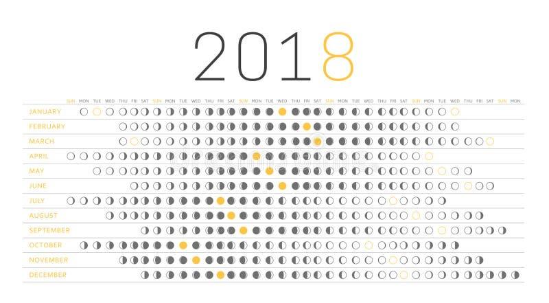 Calendario 2018 de la luna stock de ilustración